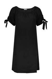 Geisha off shoulder jersey jurk met plooien zwart, Zwart
