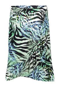 Geisha rok met all over print en ruches groen/zwart/blauw, Groen/zwart/blauw