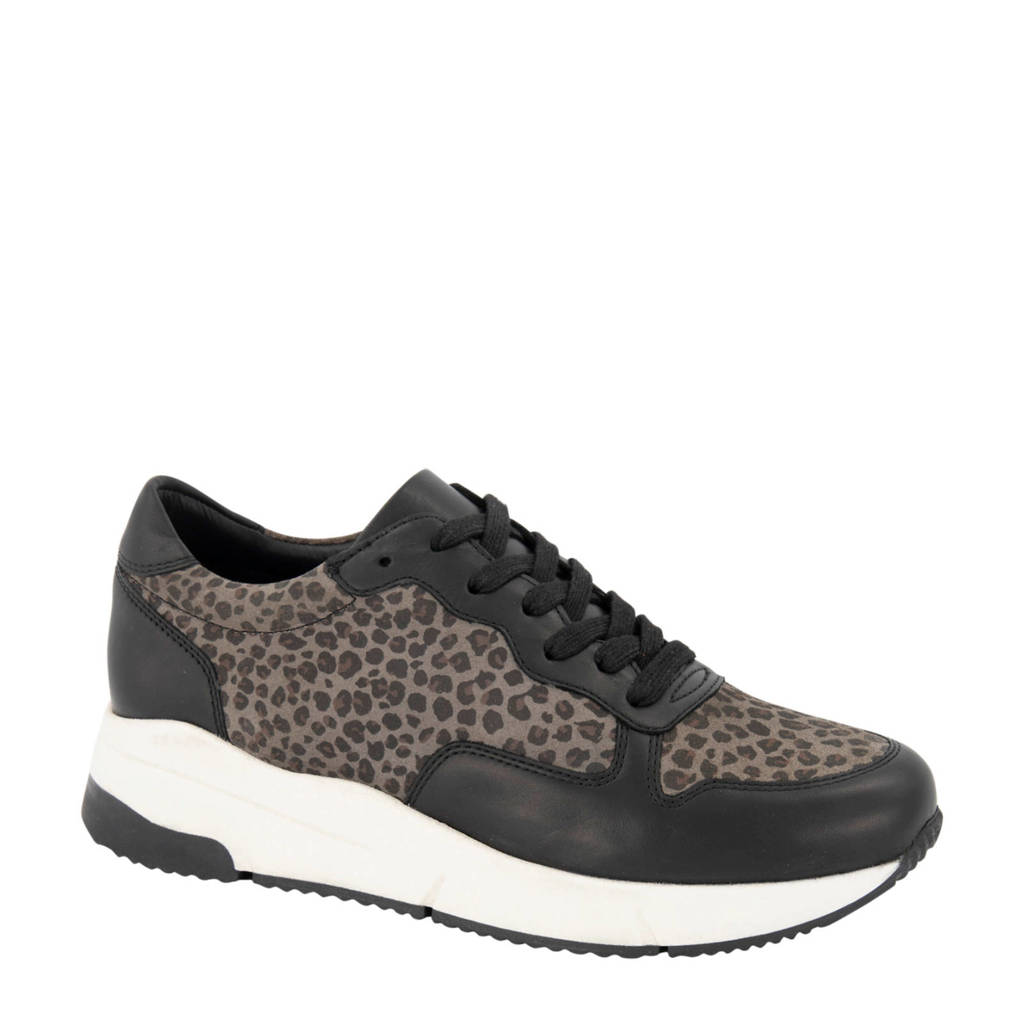 5th Avenue   leren sneakers zwart/panterprint, Zwart