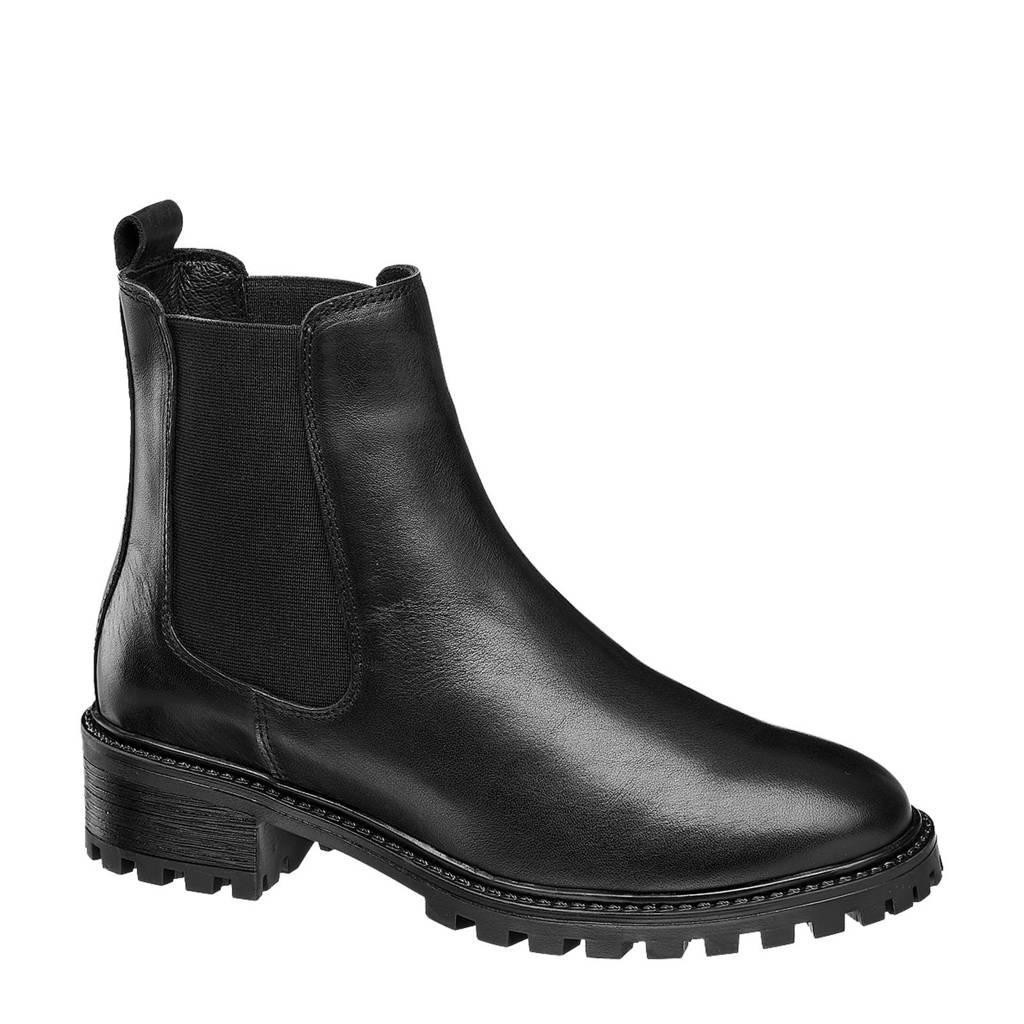 5th Avenue   leren chelsea boots zwart, Zwart