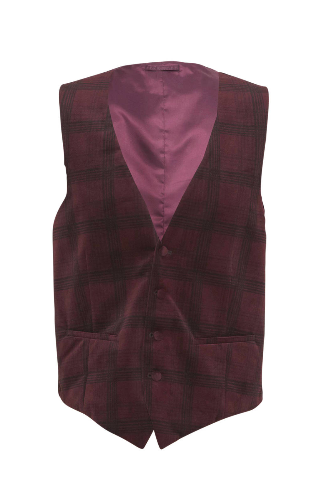 C&A Angelo Litrico geruit gilet donkerrood, Donkerrood