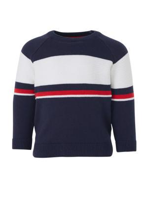 Baby Club gestreepte trui donkerblauw/wit/rood