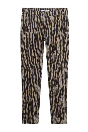 straight fit broek met all over print lichtbeige/zwart