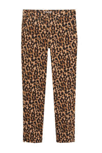 Mango straight fit pantalon met panterprint en textuur bruin, Bruin