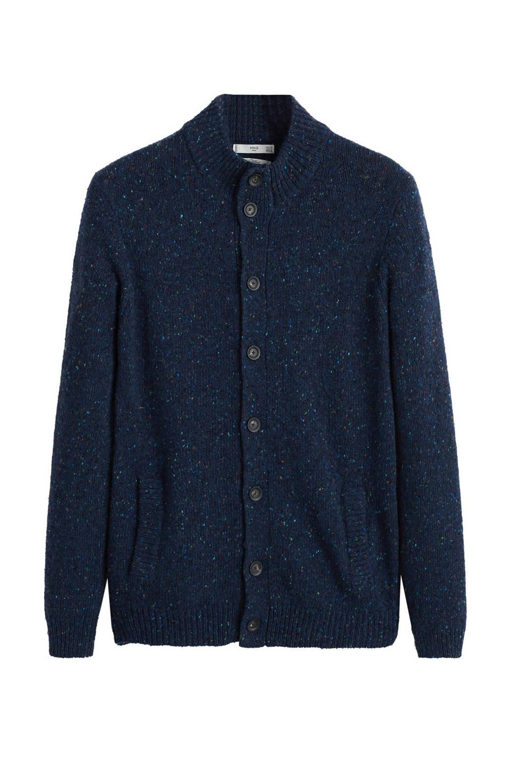 Mango Man vest met wol en all over print donkerblauw, Donkerblauw