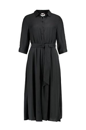 jurk Kamaste met all over print en ceintuur zwart