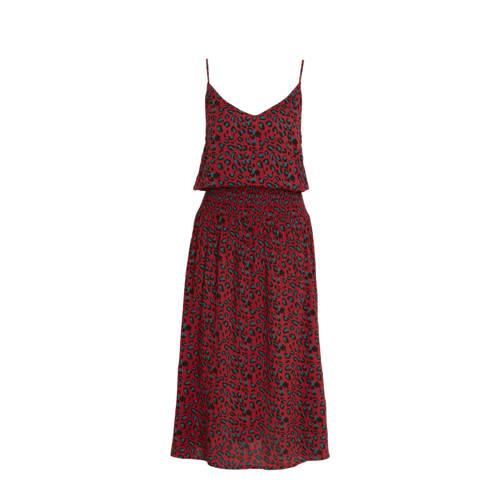 anytime crinkle viscose jurk met panterprint donke