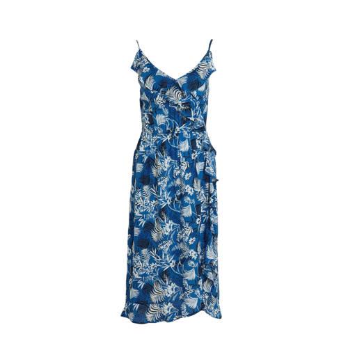 anytime zomerjurk met bloemprint blauw