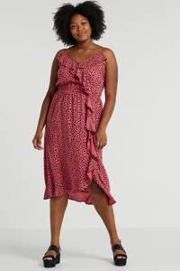 anytime zomerjurk Plus size met panterprint roze, Roze/zwart