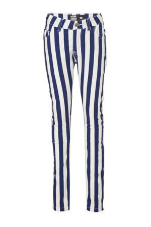 gestreepte skinny jeans Betty marine/wit
