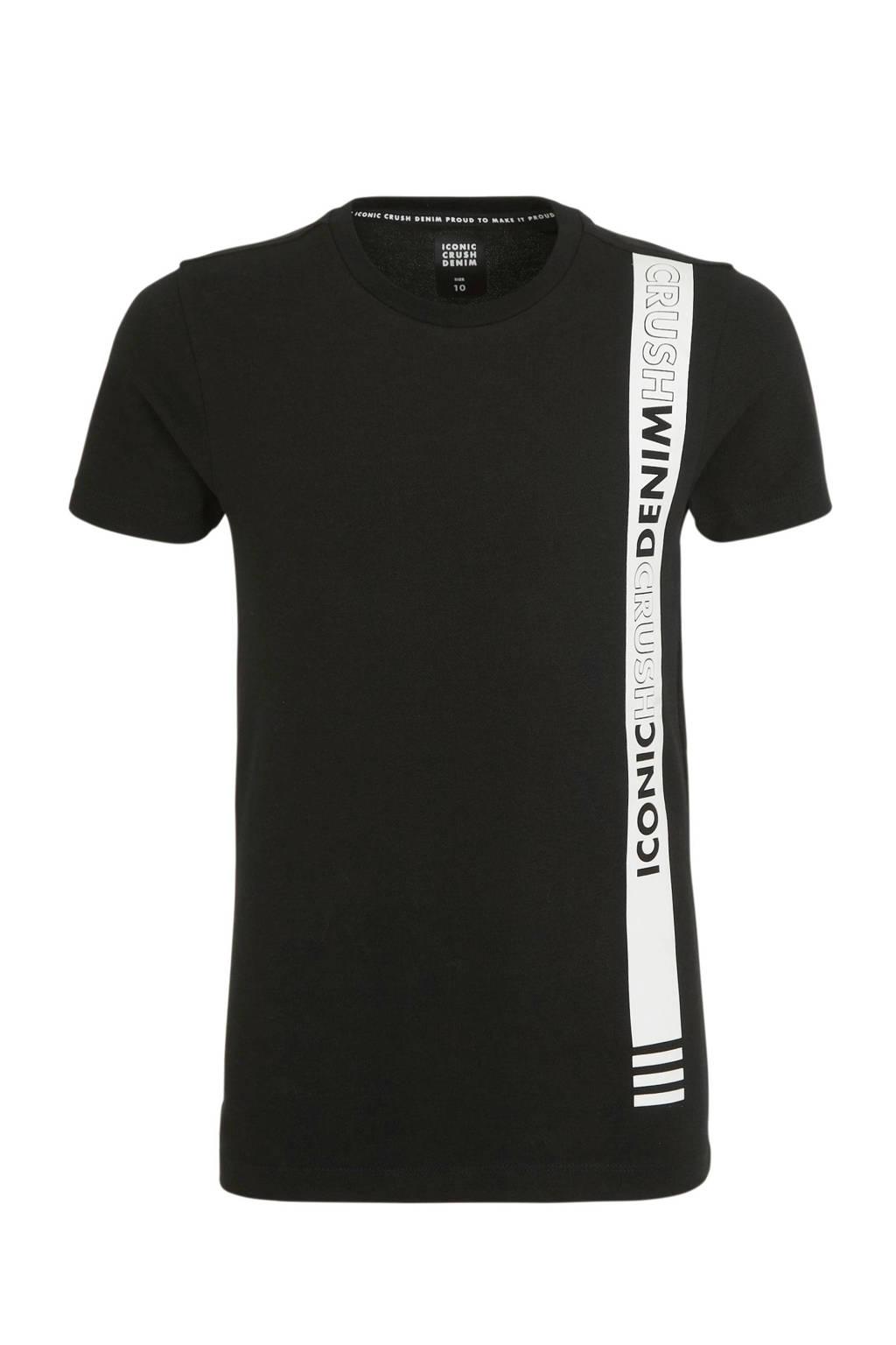 Crush Denim T-shirt Tallassee met tekst zwart/wit, Zwart/wit