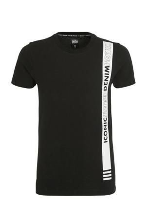 T-shirt Tallassee met tekst zwart/wit