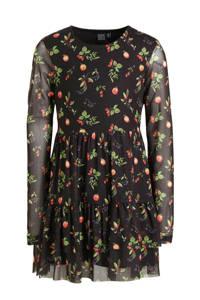 Crush Denim jurk Keisha met all over print en plooien zwart/groen/rood, Zwart/groen/rood