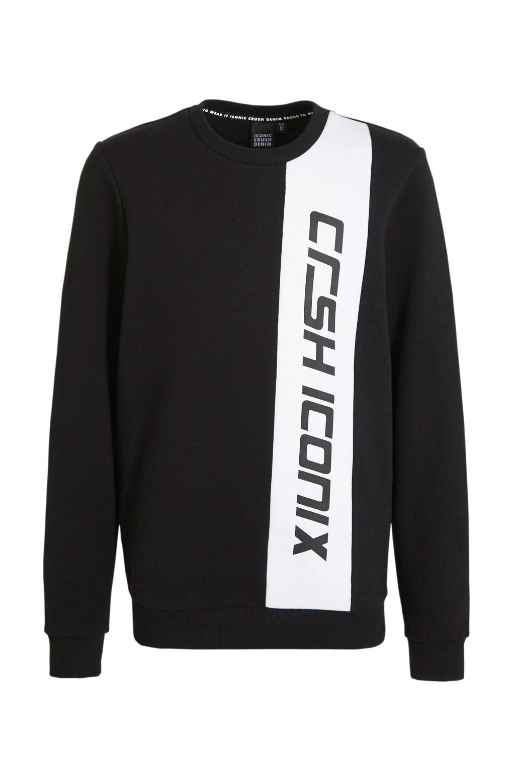 Crush Denim sweater Newport met logo zwart/wit, Zwart/wit