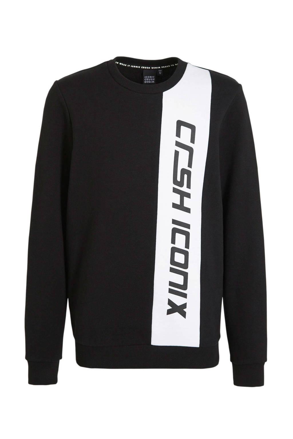 Crush Denim trui Newport met logo zwart, Zwart