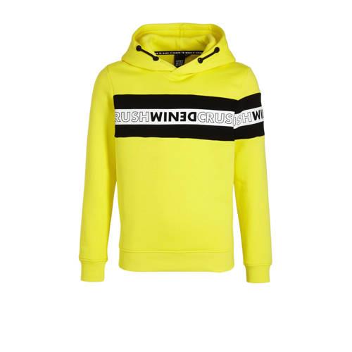 Crush Denim hoodie Nantucket met logo geel/zwart