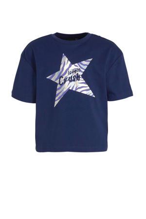 cropped T-shirt Toni met printopdruk marine