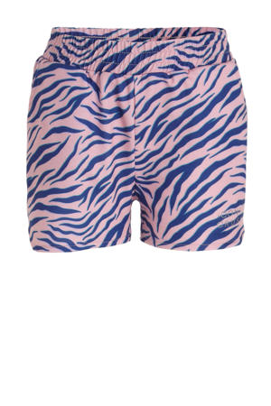 regular fit short Babette met all over print roze/blauw