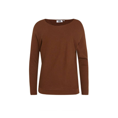 WE Fashion ribgebreide top bruin