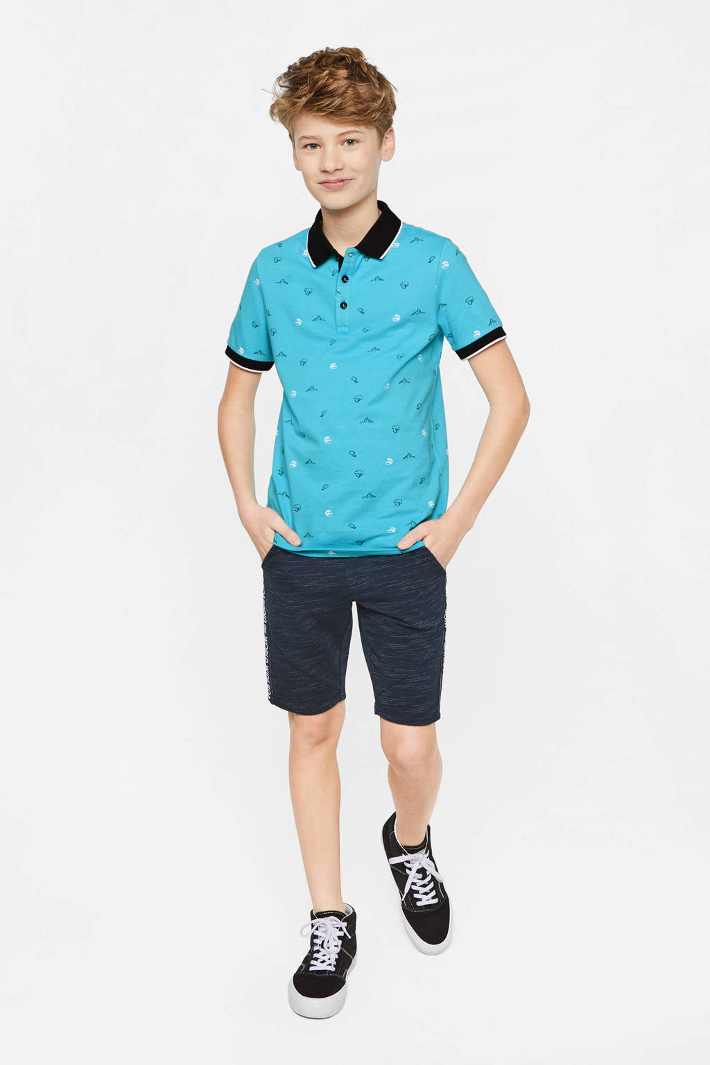 WE Fashion polo met all over print blauw, Blauw