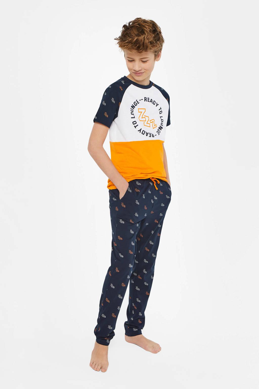WE Fashion   pyjama donkerblauw/geel/wit, Donkerblauw/geel/wit
