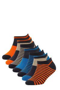 WE Fashion gestreepte sneakersokken - set van 7 blauw, Multicolor