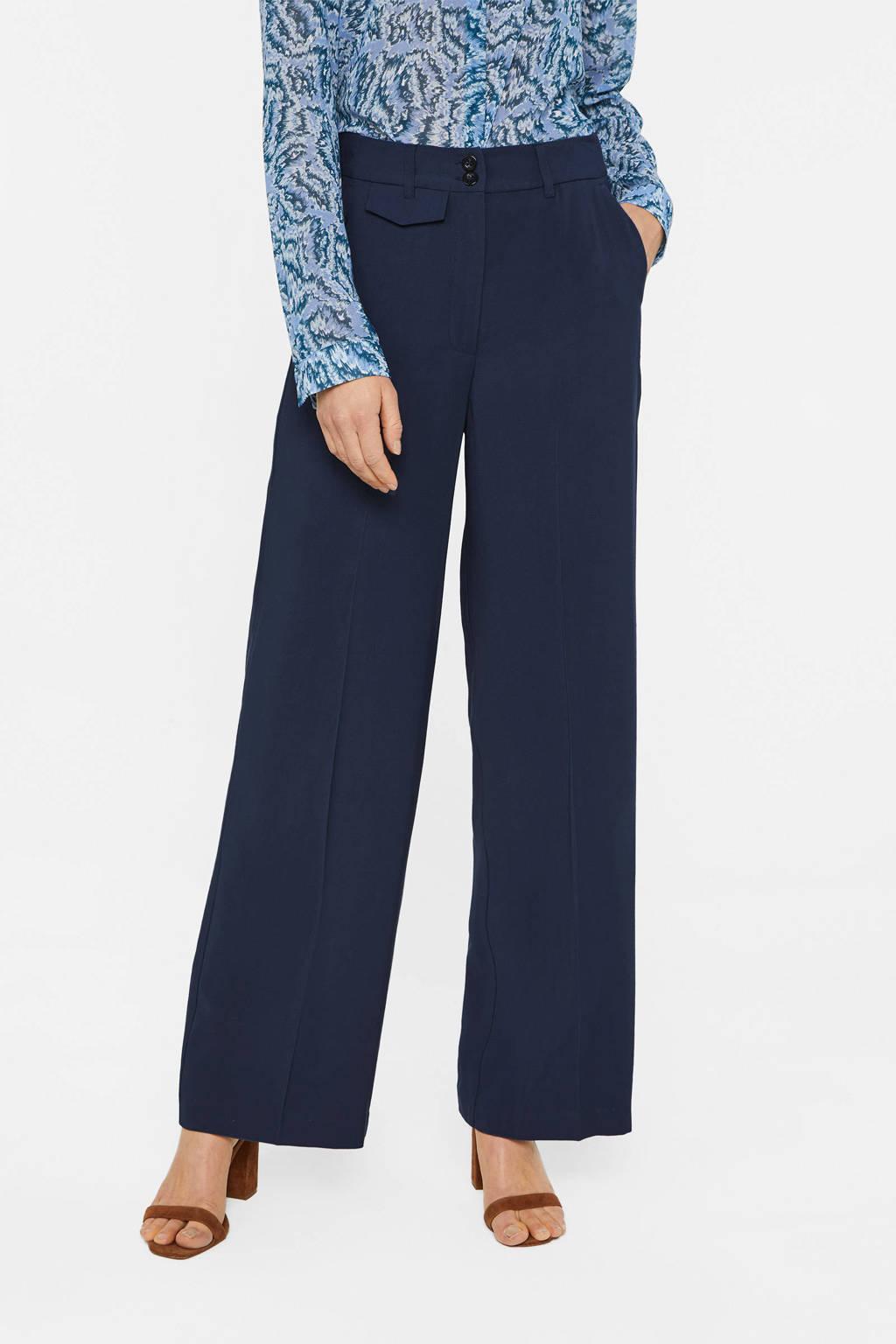 WE Fashion high waist loose fit broek donkerblauw, Donkerblauw