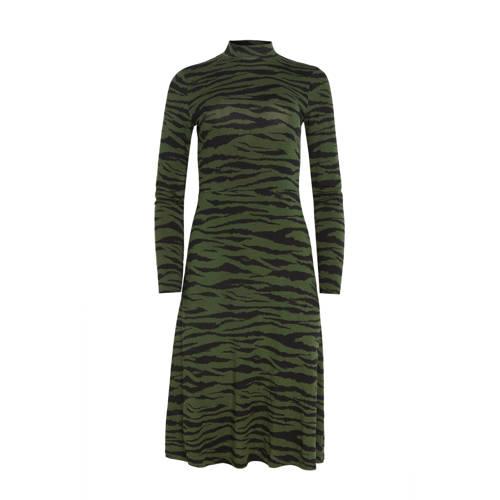 WE Fashion jurk met zebraprint groen/zwart