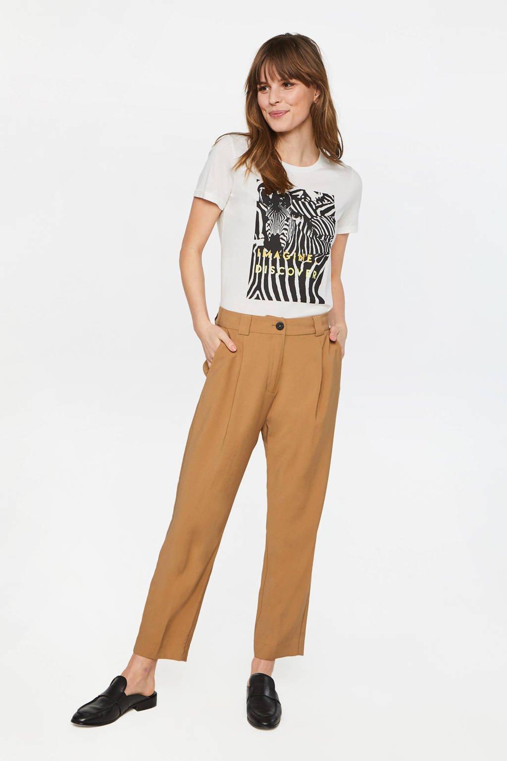 WE Fashion high waist regular fit pantalon lichtbruin, Lichtbruin