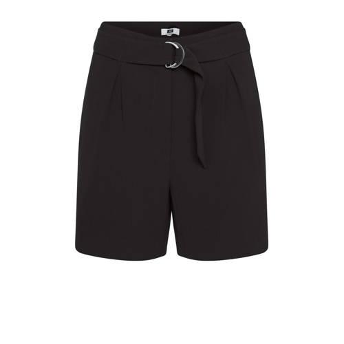 WE Fashion high waist straight fit short zwart