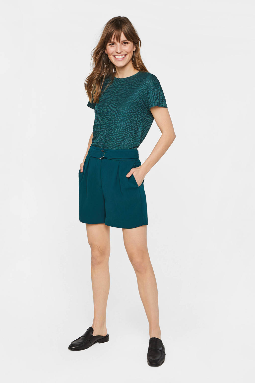 WE Fashion high waist straight fit short groen, Groen