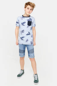 WE Fashion T-shirt met bladprint lichtblauw/donkerblauw, Lichtblauw/donkerblauw