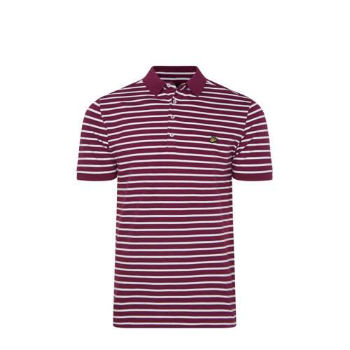 WE Fashion gestreepte slim fit polo purple potion