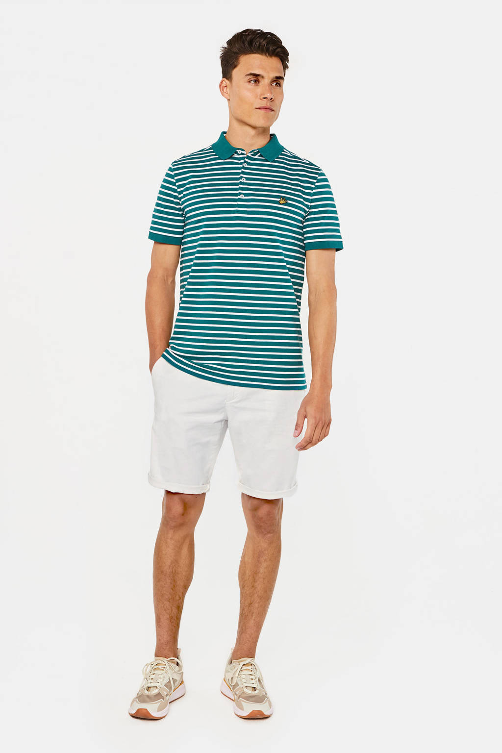 WE Fashion gestreepte slim fit polo sea storm, Sea Storm