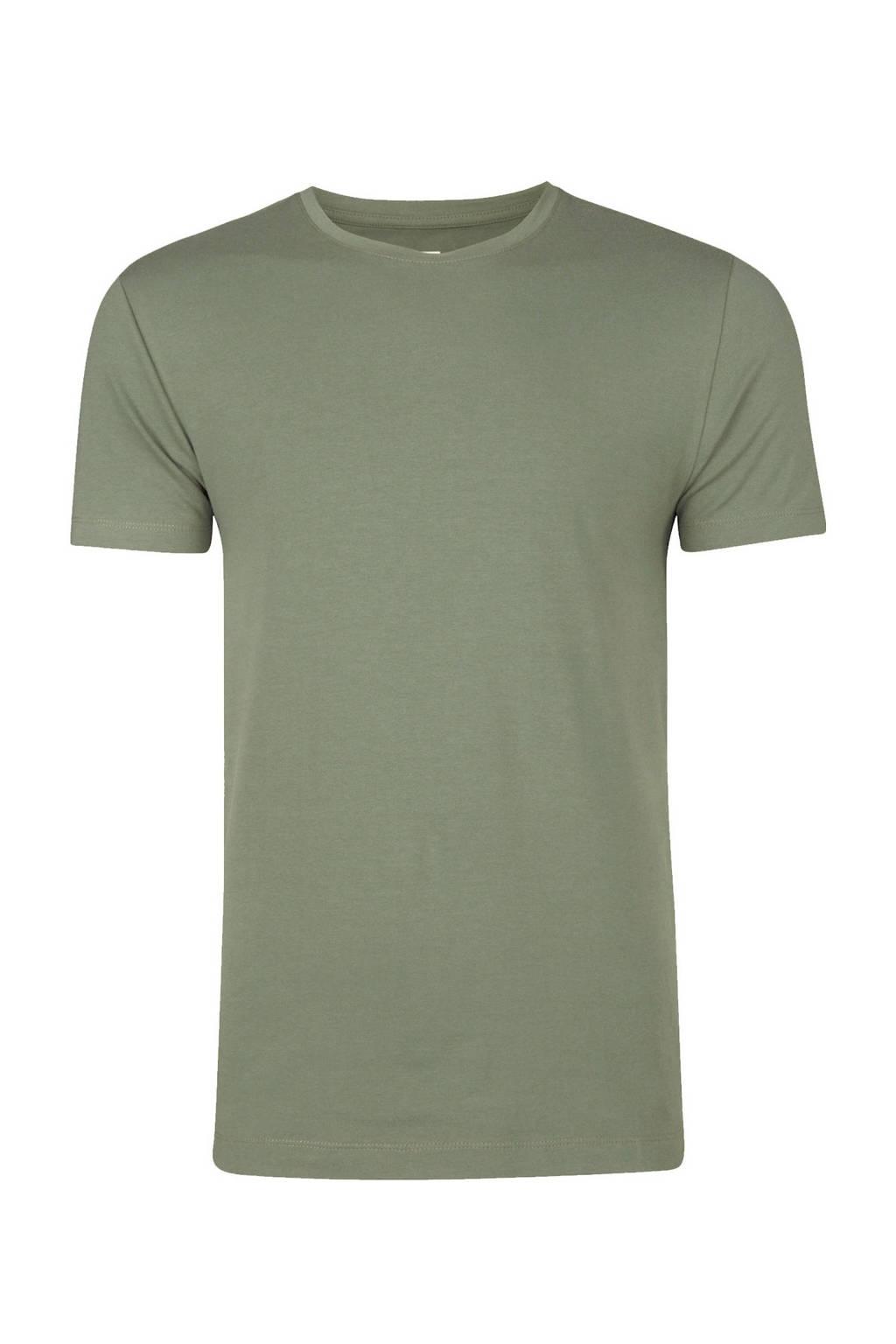 WE Fashion Fundamental T-shirt met biologisch katoen moss, Moss