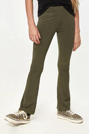 high waist flared broek kaki