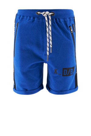 sweatshort met zijstreep blauw