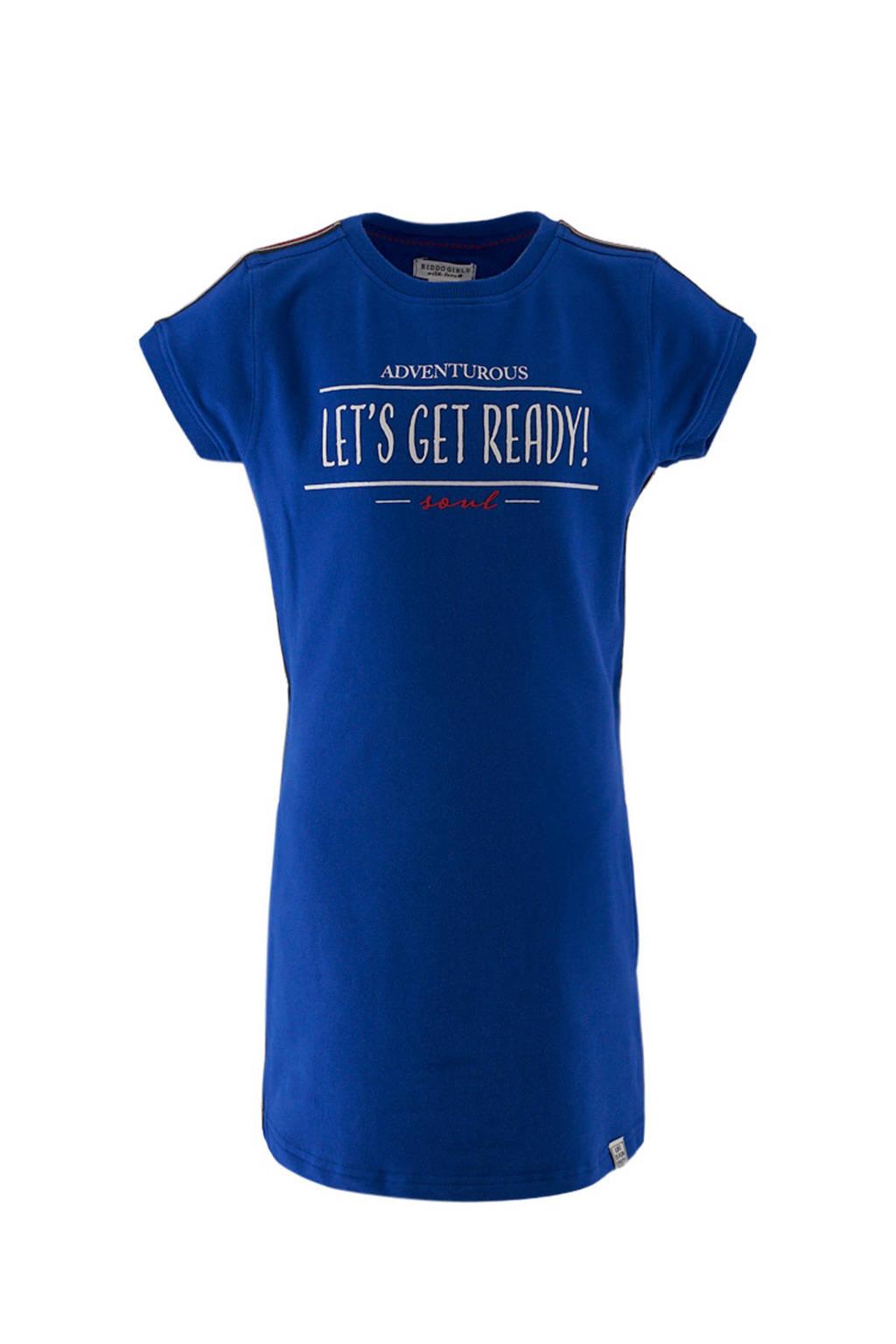 KIDDO T-shirtjurk met contrastbies en glitters kobaltblauw/wit/rood