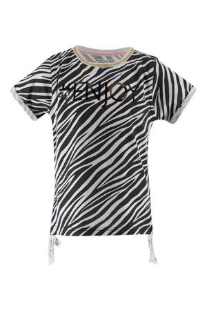 T-shirt met zebraprint en pailletten wit/zwart