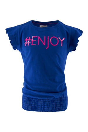 T-shirt met tekst en pailletten kobaltblauw/roze