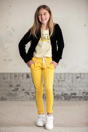 joggingbroek met zijstreep geel/zwart/wit