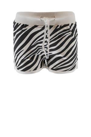 sweatshort met zebraprint wit/zwart