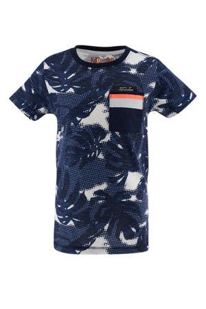 T-shirt met bladprint donkerblauw/ecru