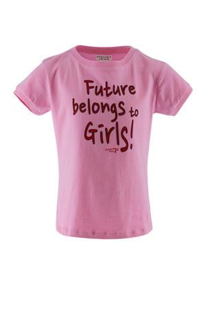 T-shirt met tekst roze/rood