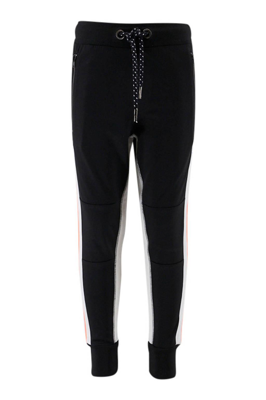 KIDDO   joggingbroek zwart/wit/oranje, Zwart/wit/oranje