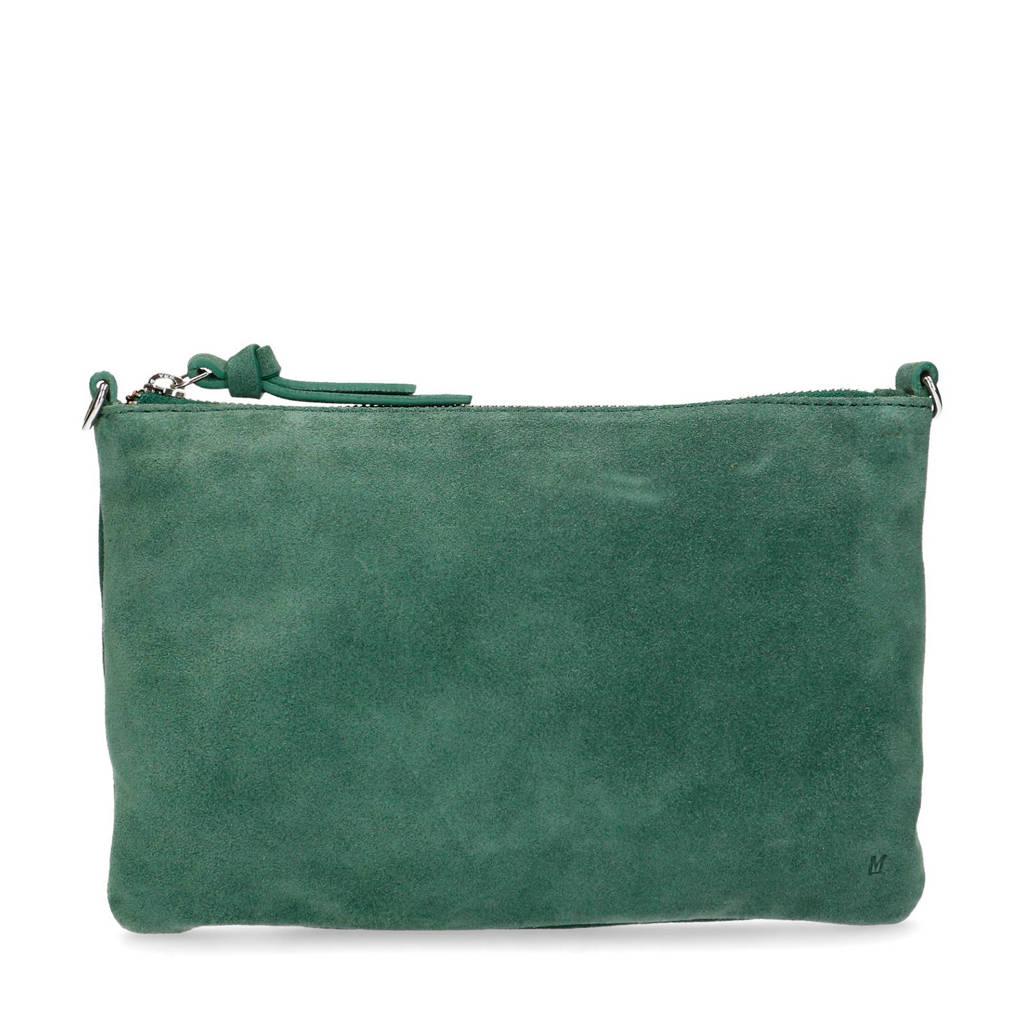 Manfield   suède clutch groen, Groen