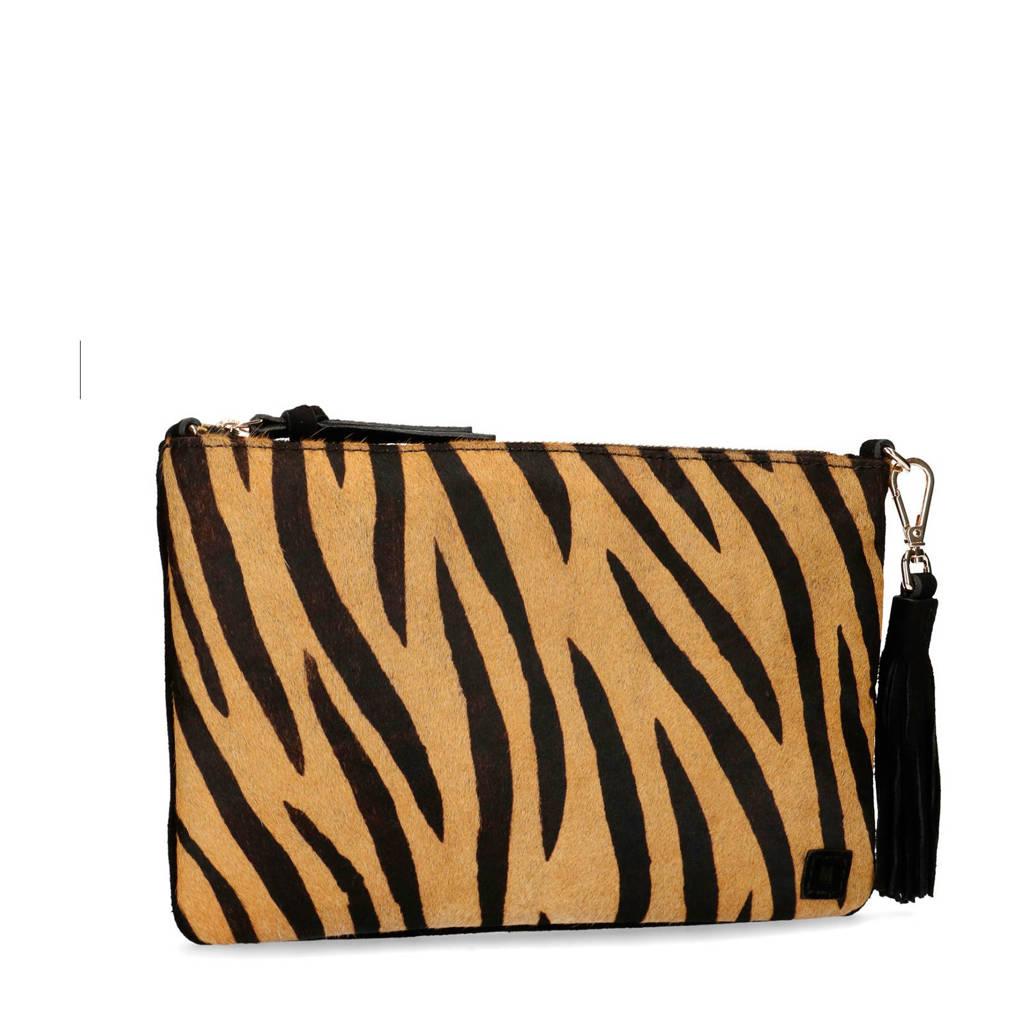 Manfield   suède tijgerprint clutch zwart, Zwart/geel