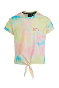 Crush Denim top Tanita met all over print roze/geel/blauw, Roze/Geel/Blauw