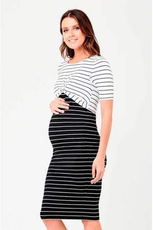 gestreepte zwangerschaps- en voedingsjurk Twisted zwart/wit
