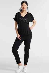 LOVE2WAIT zwangerschapsshirt met tekst zwart, Zwart